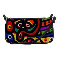 A Seamless Crazy Face Doodle Pattern Shoulder Clutch Bags