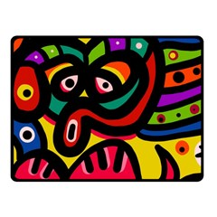 A Seamless Crazy Face Doodle Pattern Fleece Blanket (small)