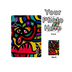 A Seamless Crazy Face Doodle Pattern Playing Cards 54 (mini)