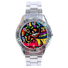 A Seamless Crazy Face Doodle Pattern Stainless Steel Analogue Watch