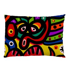 A Seamless Crazy Face Doodle Pattern Pillow Case (two Sides)