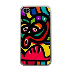 A Seamless Crazy Face Doodle Pattern Apple iPhone 4 Case (Clear)
