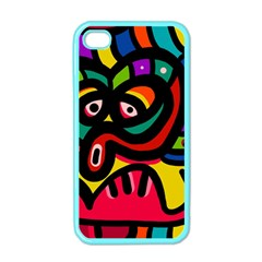 A Seamless Crazy Face Doodle Pattern Apple Iphone 4 Case (color)