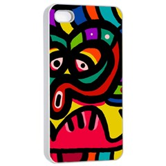 A Seamless Crazy Face Doodle Pattern Apple Iphone 4/4s Seamless Case (white)