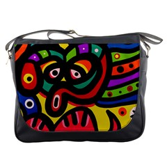 A Seamless Crazy Face Doodle Pattern Messenger Bags