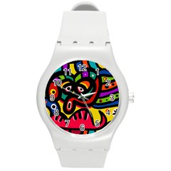 A Seamless Crazy Face Doodle Pattern Round Plastic Sport Watch (M)