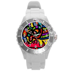 A Seamless Crazy Face Doodle Pattern Round Plastic Sport Watch (L)