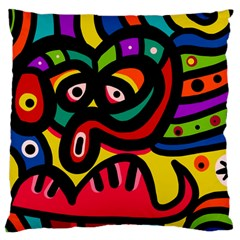 A Seamless Crazy Face Doodle Pattern Large Cushion Case (two Sides)
