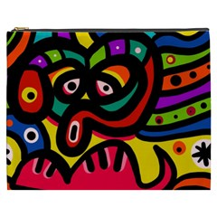 A Seamless Crazy Face Doodle Pattern Cosmetic Bag (xxxl)