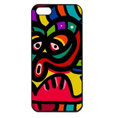 A Seamless Crazy Face Doodle Pattern Apple Iphone 5 Seamless Case (black)