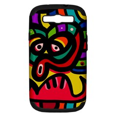 A Seamless Crazy Face Doodle Pattern Samsung Galaxy S Iii Hardshell Case (pc+silicone)