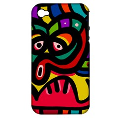 A Seamless Crazy Face Doodle Pattern Apple Iphone 4/4s Hardshell Case (pc+silicone)
