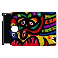 A Seamless Crazy Face Doodle Pattern Apple Ipad 2 Flip 360 Case