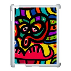 A Seamless Crazy Face Doodle Pattern Apple iPad 3/4 Case (White)
