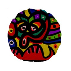 A Seamless Crazy Face Doodle Pattern Standard 15  Premium Round Cushions