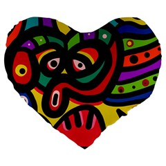 A Seamless Crazy Face Doodle Pattern Large 19  Premium Heart Shape Cushions