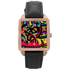 A Seamless Crazy Face Doodle Pattern Rose Gold Leather Watch