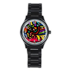 A Seamless Crazy Face Doodle Pattern Stainless Steel Round Watch
