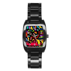 A Seamless Crazy Face Doodle Pattern Stainless Steel Barrel Watch