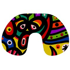A Seamless Crazy Face Doodle Pattern Travel Neck Pillows