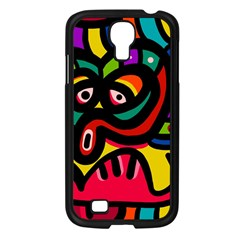 A Seamless Crazy Face Doodle Pattern Samsung Galaxy S4 I9500/ I9505 Case (Black)
