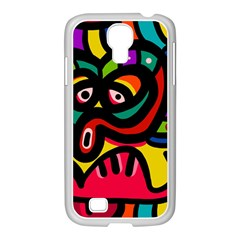 A Seamless Crazy Face Doodle Pattern Samsung Galaxy S4 I9500/ I9505 Case (white)