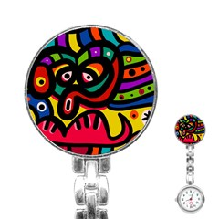 A Seamless Crazy Face Doodle Pattern Stainless Steel Nurses Watch