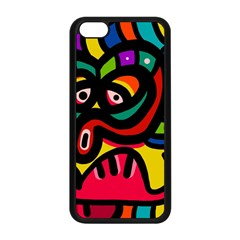 A Seamless Crazy Face Doodle Pattern Apple Iphone 5c Seamless Case (black)