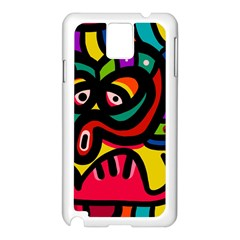 A Seamless Crazy Face Doodle Pattern Samsung Galaxy Note 3 N9005 Case (white)