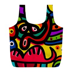 A Seamless Crazy Face Doodle Pattern Full Print Recycle Bags (l)
