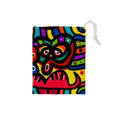 A Seamless Crazy Face Doodle Pattern Drawstring Pouches (small)