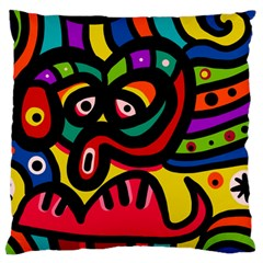 A Seamless Crazy Face Doodle Pattern Large Flano Cushion Case (one Side)