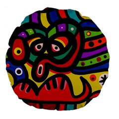 A Seamless Crazy Face Doodle Pattern Large 18  Premium Flano Round Cushions