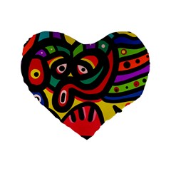 A Seamless Crazy Face Doodle Pattern Standard 16  Premium Flano Heart Shape Cushions
