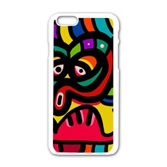 A Seamless Crazy Face Doodle Pattern Apple Iphone 6/6s White Enamel Case