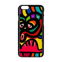 A Seamless Crazy Face Doodle Pattern Apple Iphone 6/6s Black Enamel Case