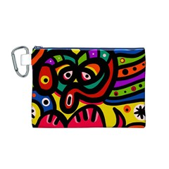 A Seamless Crazy Face Doodle Pattern Canvas Cosmetic Bag (M)