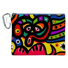 A Seamless Crazy Face Doodle Pattern Canvas Cosmetic Bag (XXL)