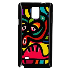 A Seamless Crazy Face Doodle Pattern Samsung Galaxy Note 4 Case (black)