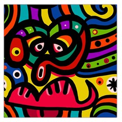 A Seamless Crazy Face Doodle Pattern Large Satin Scarf (Square)