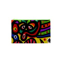 A Seamless Crazy Face Doodle Pattern Cosmetic Bag (xs)