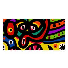 A Seamless Crazy Face Doodle Pattern Satin Shawl