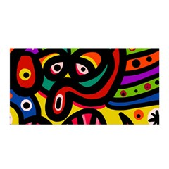 A Seamless Crazy Face Doodle Pattern Satin Wrap