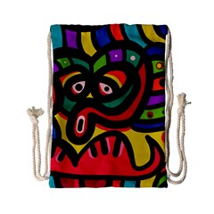 A Seamless Crazy Face Doodle Pattern Drawstring Bag (small)
