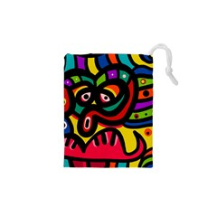 A Seamless Crazy Face Doodle Pattern Drawstring Pouches (xs)