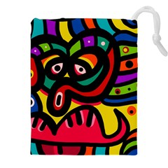 A Seamless Crazy Face Doodle Pattern Drawstring Pouches (xxl)