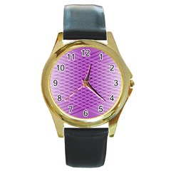 Abstract Lines Background Round Gold Metal Watch