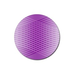 Abstract Lines Background Rubber Round Coaster (4 Pack)
