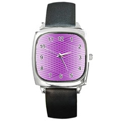 Abstract Lines Background Square Metal Watch