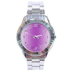 Abstract Lines Background Stainless Steel Analogue Watch